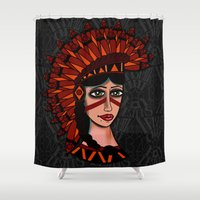 native Shower Curtains featuring Native by caffeboy