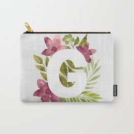 Monogram G with red waercolor flowers and green leaves. Floral letter G. Botanical illustration. Carry-All Pouch