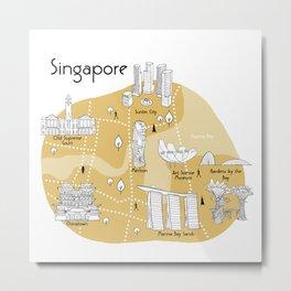 Mapping Singapore  - Yellow Metal Print