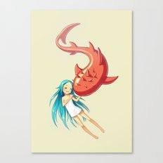 Red Whale Canvas Print