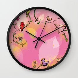 Birds - Pink Wall Clock