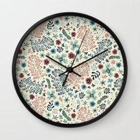 flora Wall Clocks featuring Flora by Anna Deegan