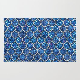 Sparkly Blue & Silver Glitter Mermaid Scales Rug