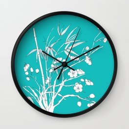 bamboo and plum flower white on blue Wall Clock