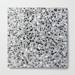 Concrete terrazzo marble texture speckle pattern gray Metal Print