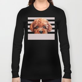 Toy poodle red brown Dog illustration original painting print Long Sleeve T-shirt