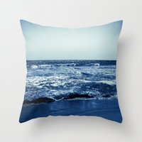 wave Throw Pillows featuring Wave by Michelle McConnell