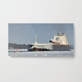 St. Clair Freighter in Neebish Channel Metal Print