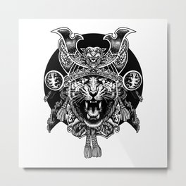Tiger Samurai Metal Print