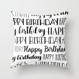 Happy Birthday | Black and White Pattern Throw Pillow