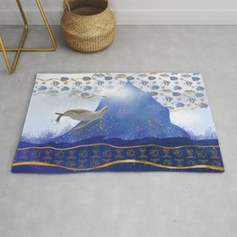 Flying Sea Lion Over Rising Oceans - Surreal Climate Change Painting Rug