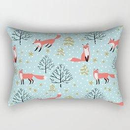 Red foxes in the blue winter forest with snow Rectangular Pillow