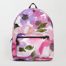 Pink Purple Watercolor Flowers Backpack