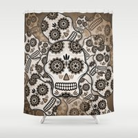 sugar skulls Shower Curtains featuring Sugar skulls by nicky2342