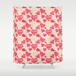 red hearts pattern pink Shower Curtain