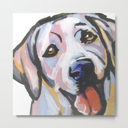 Yellow Lab Labrador Retriever Dog Portrait Pop Art painting by Lea Metal Print