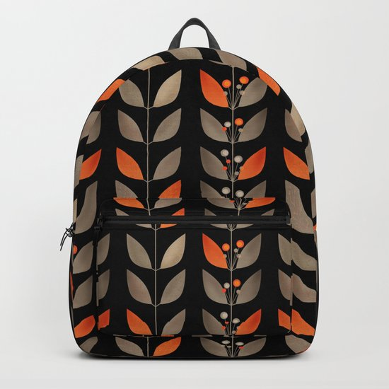 Retro . Berry sprigs on a black background . Backpack