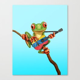 Tree Frog Playing Acoustic Guitar with Flag of Venezuela Canvas Print