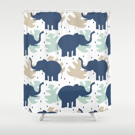 cute pattern background illustration with elephants and tropical exotic leaves Shower Curtain