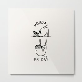 Pug Yoga Friday Metal Print