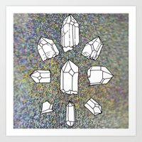 holographic Art Prints featuring holographic crystal collection by HiddenStash Art