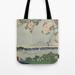 Cherry Blossoms on Spring River Ukiyo-e Japanese Art Tote Bag