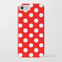 polka dots iPhone & iPod Cases featuring Polka Dots (White/Red) by 10813 Apparel
