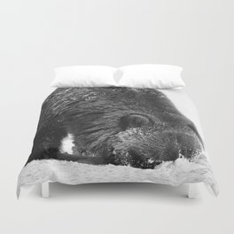 Alaskan Grizzly Bear in Snow, B & W - 2 Duvet Cover