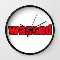 wasted rita Wall Clocks featuring Wasted by TxzDesign