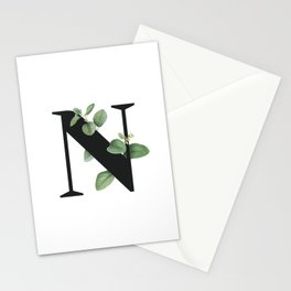 Letter N Initial Floral Monogram Black And White Poster Stationery Cards