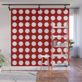 Red and white polka dots pattern Wall Mural