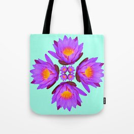 Purple Lily Flower - On Aqua Blue Tote Bag