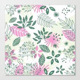 pink teal flower pattern Canvas Print