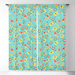 Crisscross Butterflies V.02 - Cadet Blue Color Blackout Curtain