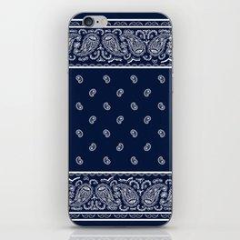 Navy Blue and White Bandana iPhone Skin