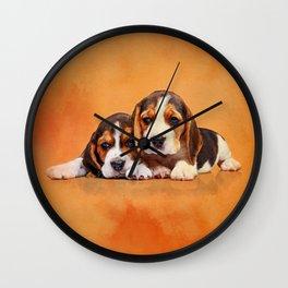 Cute Beagle puppies Wall Clock