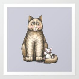 """""""Peace....now we're friend"""" (cat and mouse) Art Print"""
