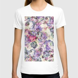 Vintage bohemian rustic pink lavender floral T-shirt