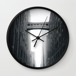 Snow Bridge in New York Wall Clock