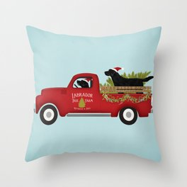 Black lab dog labrador christmas tree farm vintage red truck Throw Pillow