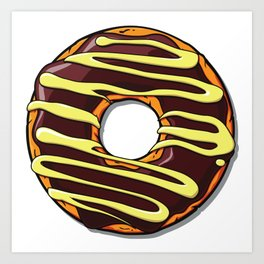 Chocolate Donut with Glaze and Icing - Brown Yellow Art Print