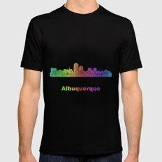 Rainbow Albuquerque skyline Mens Fitted Tee Black MEDIUM