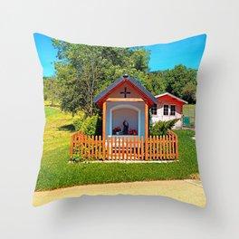 A chapel besides the garden Throw Pillow