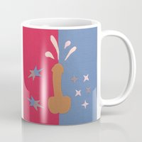 penis Mugs featuring Felt Penis: Squirt by BRENT PRUITT
