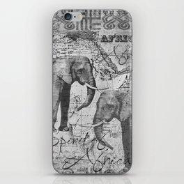 African Spirit Vintage Elephant black white iPhone Skin