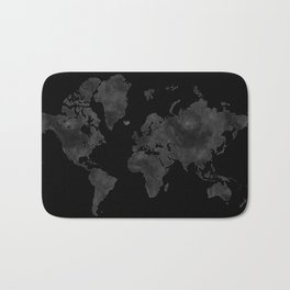 "Black and gray watercolor world map ""Coal mine"" Bath Mat"