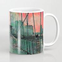 brooklyn bridge Mugs featuring Brooklyn Bridge by Ganech joe