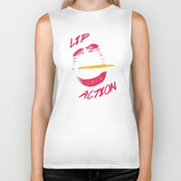 lip Biker Tanks featuring Lip Action by Kidney Theft