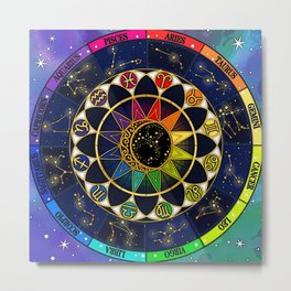Zodiac Star Sign Table Metal Print