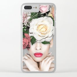 WOMAN WITH FLOWERS Floral collage Clear iPhone Case